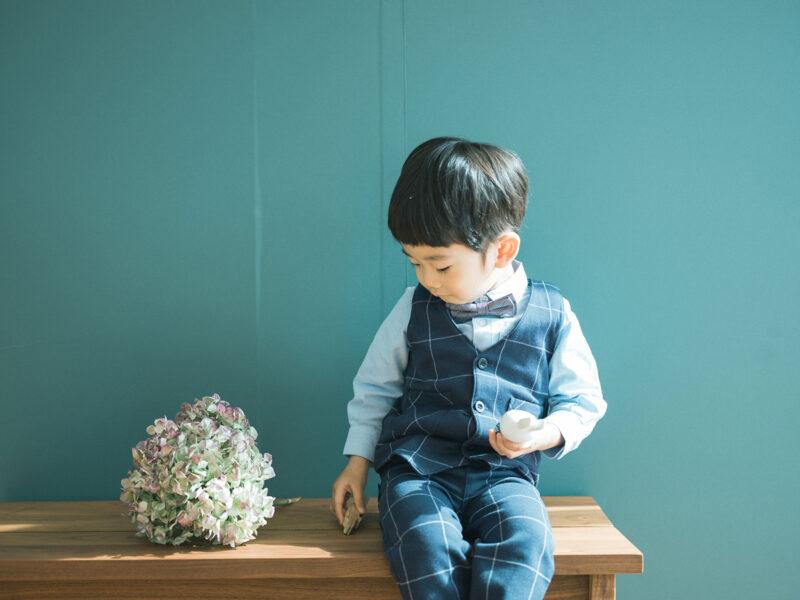 2歳バースデーフォト、ひなたくん!紫陽花、ボウタイコーデ