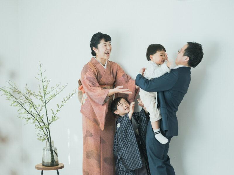 5歳七五三、おうすけくん!家族写真