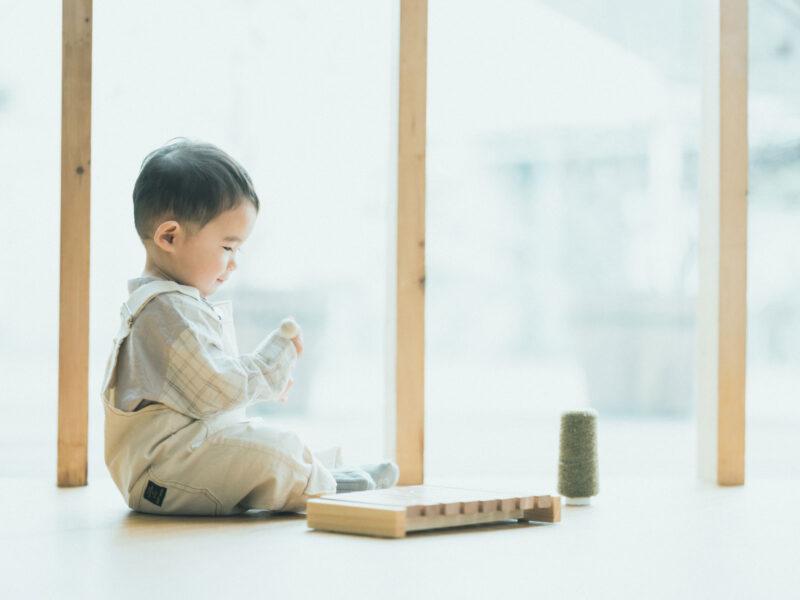 1歳バースデーフォト、みねくん!木琴