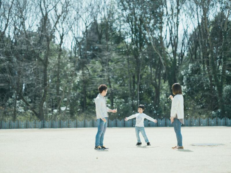 みずほの自然の森公園、入学記念ロケ、こうちゃん!家族写真、シャボン玉