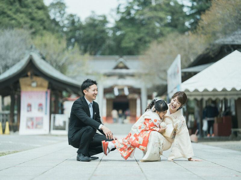 3歳七五三、出張撮影、ことねちゃん!大前神社、家族写真