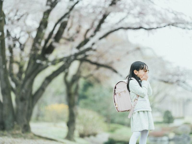 入学記念写真、りおんちゃん!桜の木と