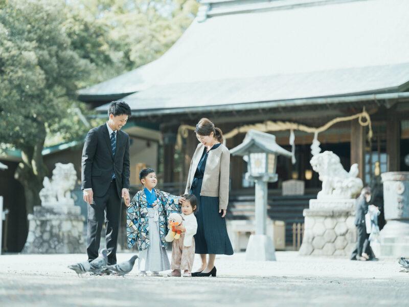 宇都宮二荒山神社、5歳七五三ロケ、えいたくん!家族写真