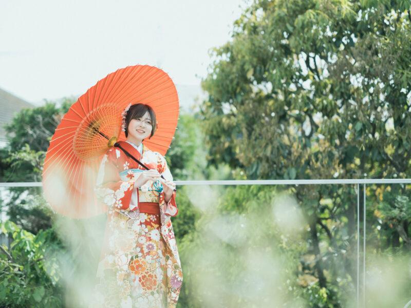 成人式前撮り、振袖、番傘