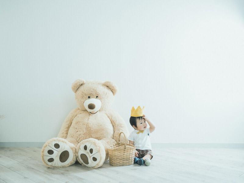 1歳バースデーフォト、けんたくん!熊