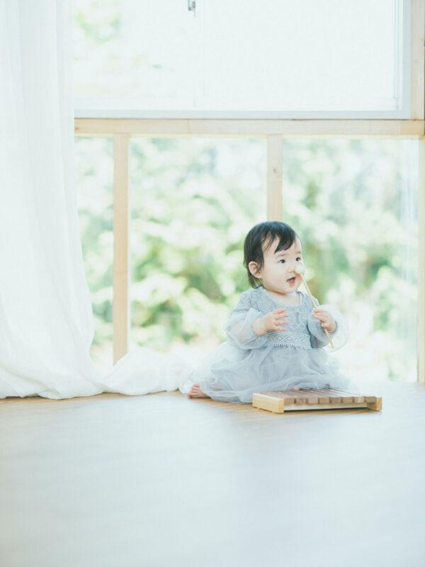 1歳バースデーフォト、ゆらちゃん!木琴