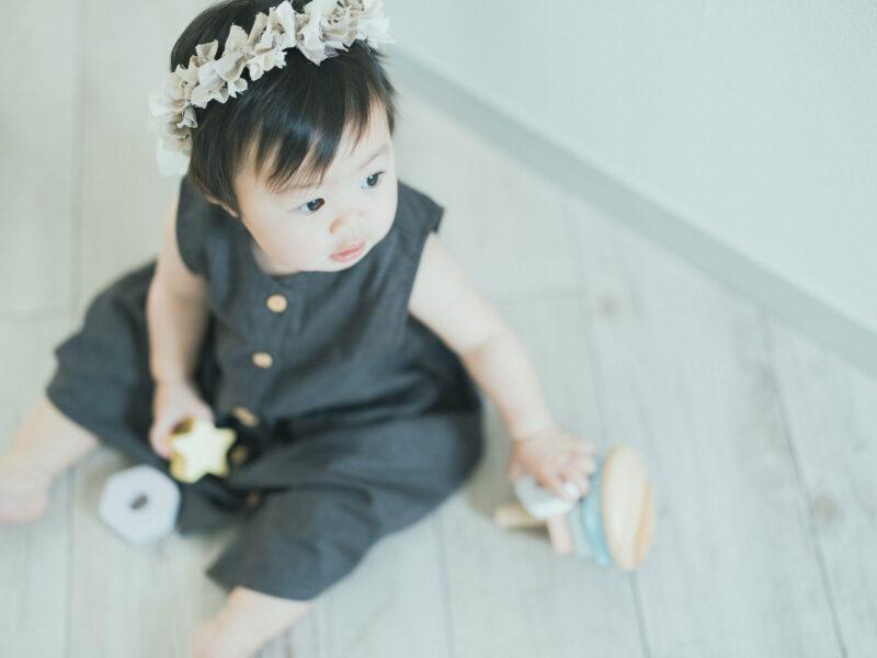 1歳バースデーフォト、つむぎちゃん!可愛いヘッドパーツ