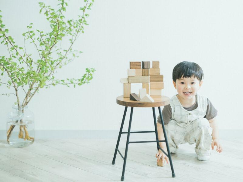 3歳バースデーフォト、あらたくん!積み木