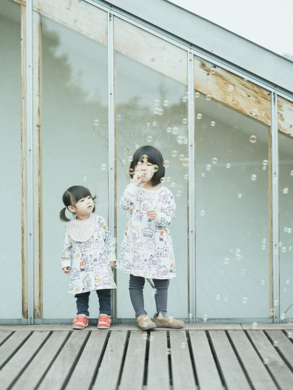 3歳バースデーフォト、ふうかちゃん!姉妹、シャボン玉
