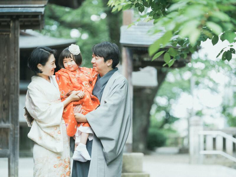 3歳七五三、宇都宮二荒山神社ロケ、あかりちゃん!家族写真、みんな着物で