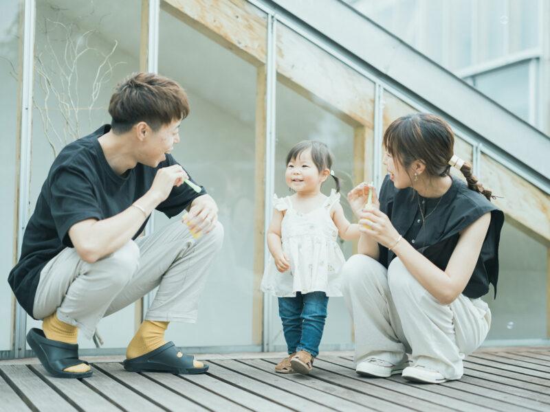 いおちゃん、家族写真!シャボン玉