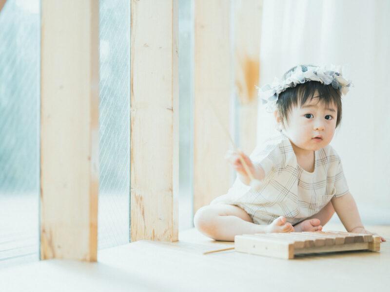 1歳バースデーフォト、たけまるくん!木琴