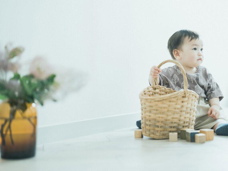 1歳バースデーフォト、ほたかくん!積み木