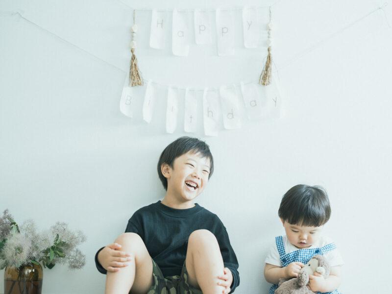1歳バースデーフォト、とうたくん!兄弟写真