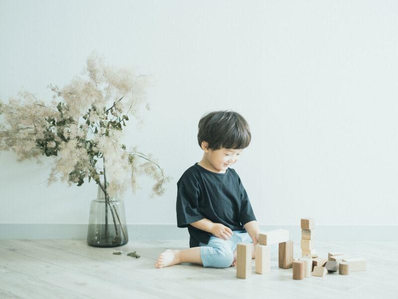 3歳バースデーフォト、おとくん!積み木