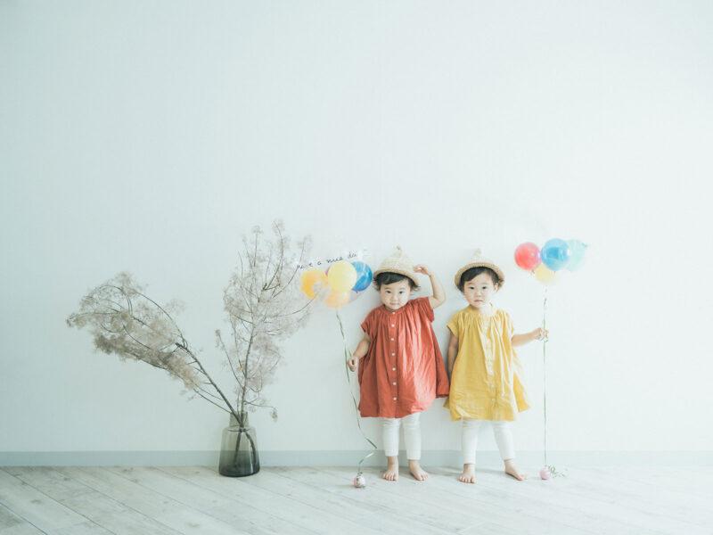 2歳双子バースデーフォト、つむぎちゃん、いつきちゃん!