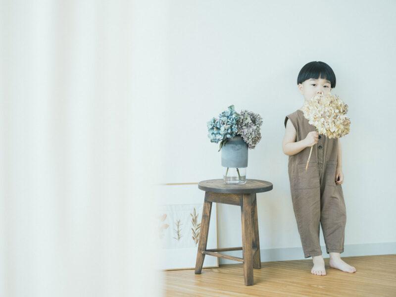 3歳バースデーフォト、かなとくん!紫陽花
