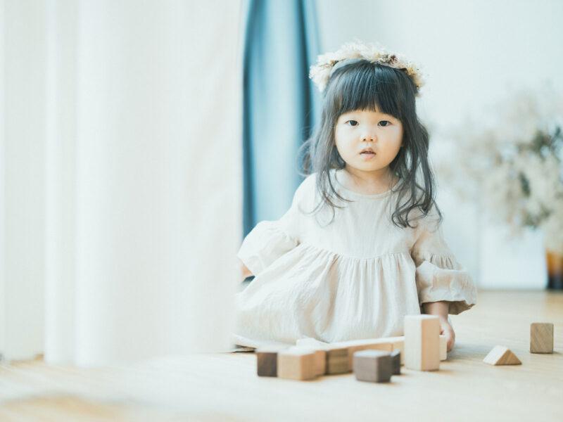 2歳バースデーフォト、さわちゃん!可愛い髪飾り