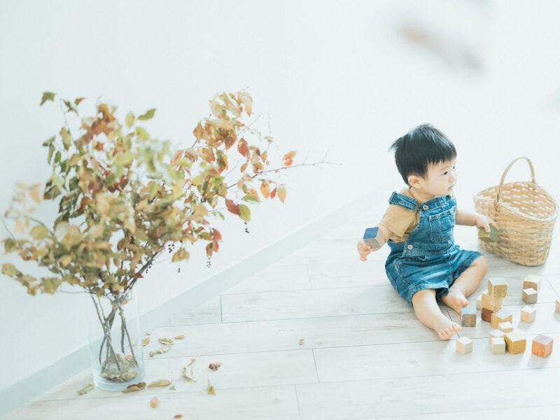1歳バースデー、ひいろくん!オーバーオール