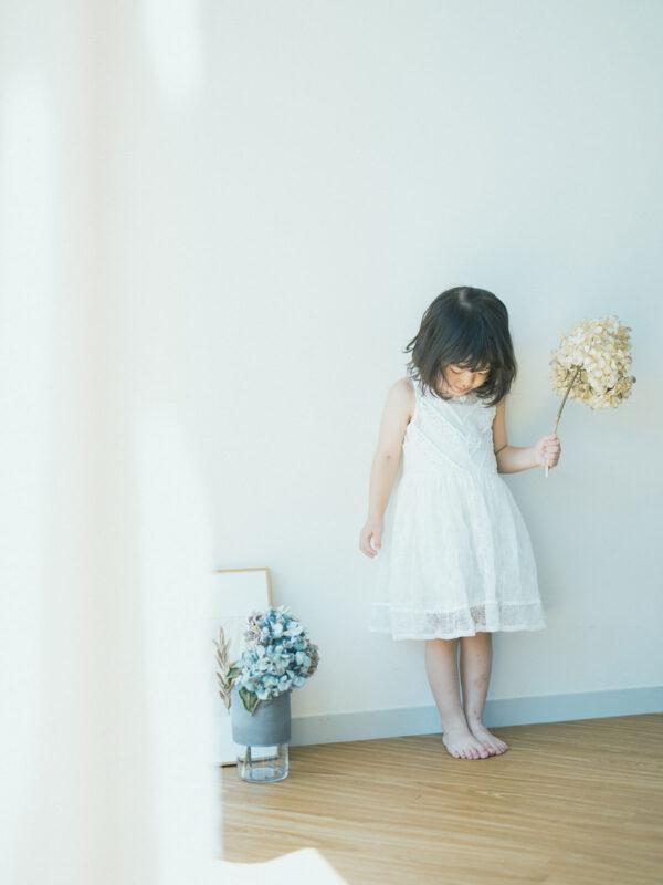 4歳バースデーフォト、こうちゃん!ワンピース、紫陽花ドライフラワー