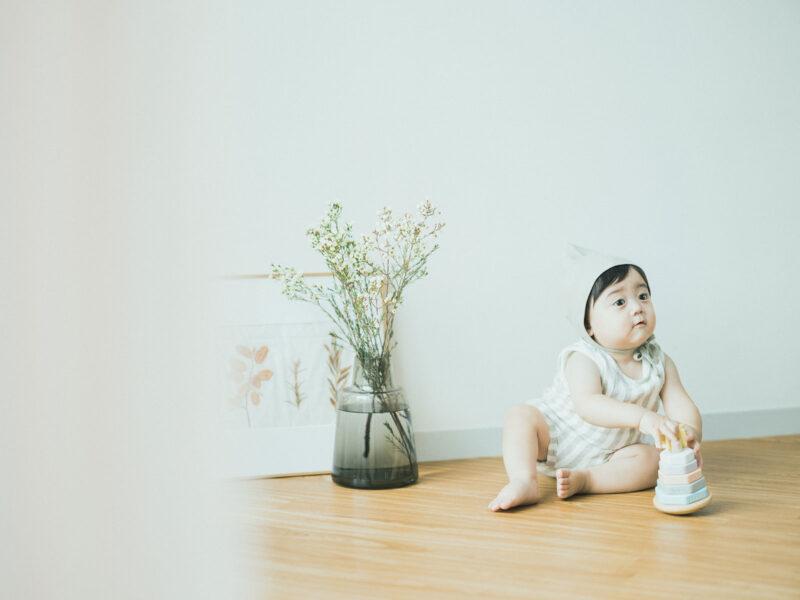 1歳バースデーフォト、ようすけくん!可愛いボネット