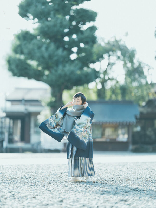 宇都宮二荒山神社、5歳七五三、あゆむくん!ストールコーデ