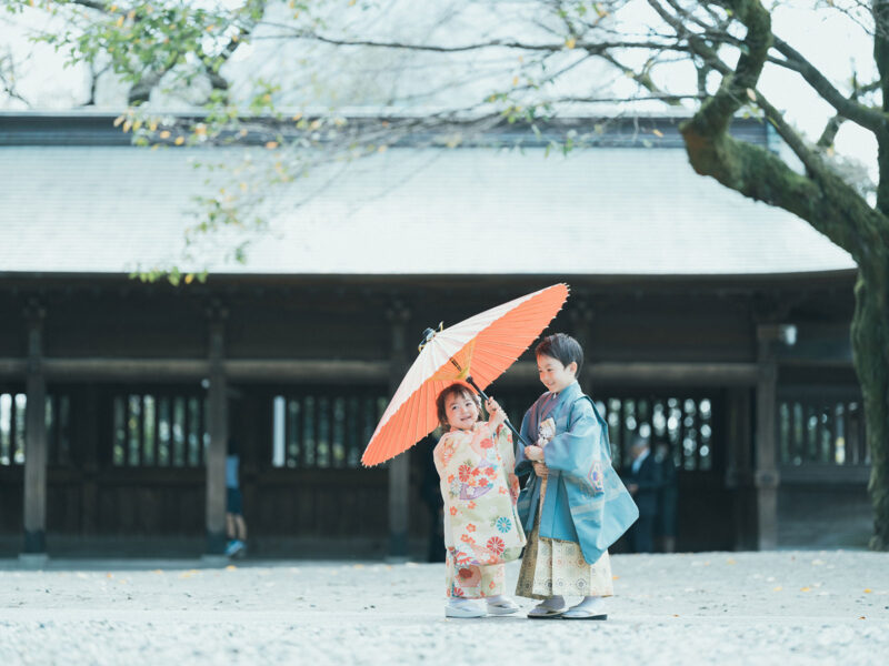 宇都宮二荒山神社、3歳七五三、りんちゃん!5歳七五三、がくくん!兄弟で番傘、相合い傘