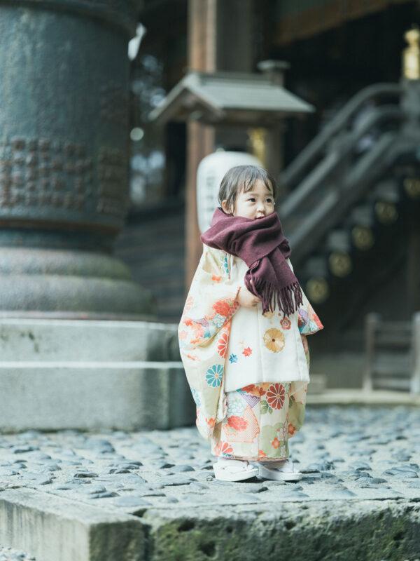 宇都宮二荒山神社、3歳七五三、りんちゃん!ストールコーデ
