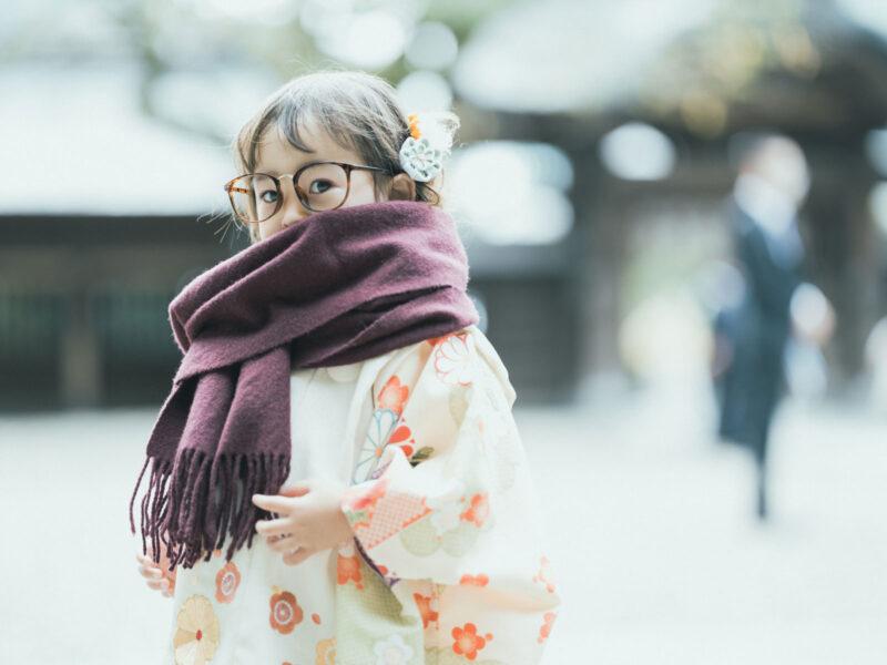 宇都宮二荒山神社、3歳七五三、りんちゃん!お洒落メガネ、ストールコーデ